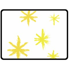 Line Painting Yellow Star Double Sided Fleece Blanket (large)  by Mariart