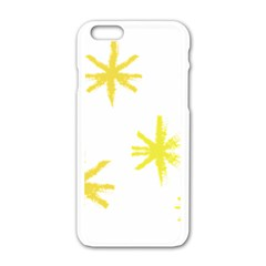 Line Painting Yellow Star Apple Iphone 6/6s White Enamel Case by Mariart