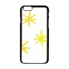 Line Painting Yellow Star Apple Iphone 6/6s Black Enamel Case by Mariart