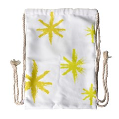 Line Painting Yellow Star Drawstring Bag (large) by Mariart