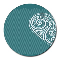 Line Wave Chevron Star Blue Love Heart Sea Beach Round Mousepads by Mariart