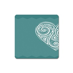 Line Wave Chevron Star Blue Love Heart Sea Beach Square Magnet by Mariart