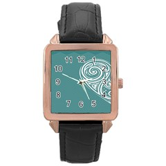 Line Wave Chevron Star Blue Love Heart Sea Beach Rose Gold Leather Watch  by Mariart