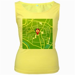 Map Street Star Location Women s Yellow Tank Top by Mariart