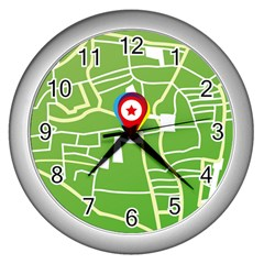 Map Street Star Location Wall Clocks (silver)  by Mariart