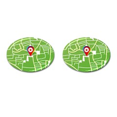 Map Street Star Location Cufflinks (oval) by Mariart