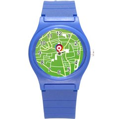 Map Street Star Location Round Plastic Sport Watch (s) by Mariart
