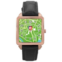 Map Street Star Location Rose Gold Leather Watch  by Mariart
