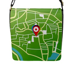 Map Street Star Location Flap Messenger Bag (l)  by Mariart