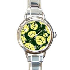Leaf Green Yellow Round Italian Charm Watch by Mariart