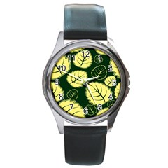 Leaf Green Yellow Round Metal Watch by Mariart