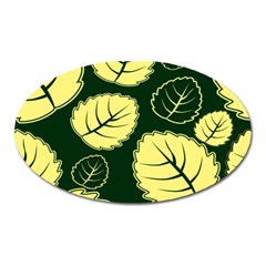 Leaf Green Yellow Oval Magnet by Mariart
