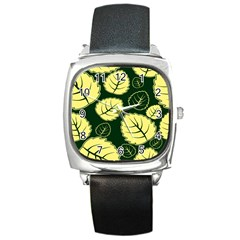 Leaf Green Yellow Square Metal Watch