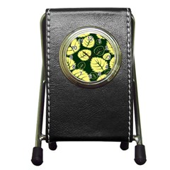Leaf Green Yellow Pen Holder Desk Clocks by Mariart