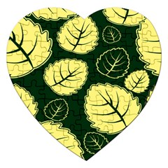 Leaf Green Yellow Jigsaw Puzzle (heart) by Mariart