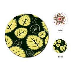 Leaf Green Yellow Playing Cards (round)  by Mariart