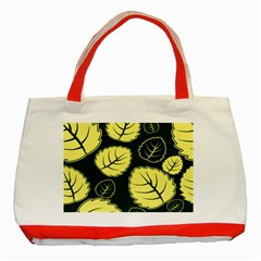 Leaf Green Yellow Classic Tote Bag (red) by Mariart