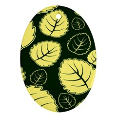Leaf Green Yellow Oval Ornament (two Sides) by Mariart