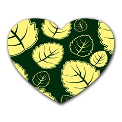 Leaf Green Yellow Heart Mousepads by Mariart