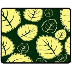 Leaf Green Yellow Fleece Blanket (medium)  by Mariart