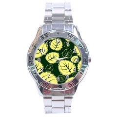 Leaf Green Yellow Stainless Steel Analogue Watch