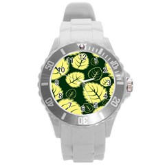 Leaf Green Yellow Round Plastic Sport Watch (l) by Mariart