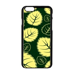 Leaf Green Yellow Apple Iphone 6/6s Black Enamel Case by Mariart