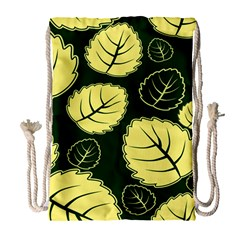 Leaf Green Yellow Drawstring Bag (large) by Mariart
