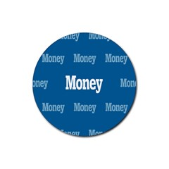 Money White Blue Color Rubber Coaster (round)  by Mariart