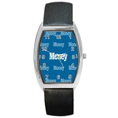 Money White Blue Color Barrel Style Metal Watch by Mariart