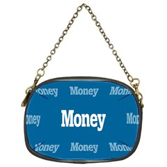 Money White Blue Color Chain Purses (one Side)  by Mariart