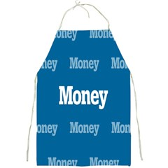 Money White Blue Color Full Print Aprons
