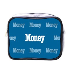Money White Blue Color Mini Toiletries Bags by Mariart