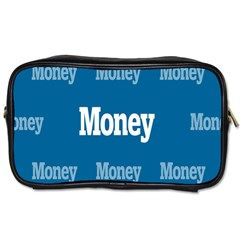 Money White Blue Color Toiletries Bags by Mariart