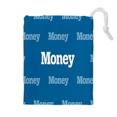 Money White Blue Color Drawstring Pouches (extra Large)