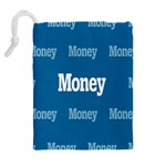 Money White Blue Color Drawstring Pouches (Extra Large) Back