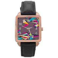 Origami Bird Japans Papper Rose Gold Leather Watch  by Mariart