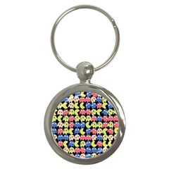 Pacman Seamless Generated Monster Eat Hungry Eye Mask Face Color Rainbow Key Chains (round)  by Mariart
