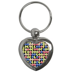 Pacman Seamless Generated Monster Eat Hungry Eye Mask Face Color Rainbow Key Chains (heart)  by Mariart