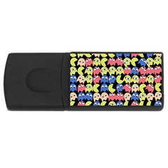 Pacman Seamless Generated Monster Eat Hungry Eye Mask Face Color Rainbow Usb Flash Drive Rectangular (4 Gb) by Mariart