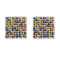 Pacman Seamless Generated Monster Eat Hungry Eye Mask Face Color Rainbow Cufflinks (square) by Mariart