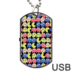 Pacman Seamless Generated Monster Eat Hungry Eye Mask Face Color Rainbow Dog Tag Usb Flash (two Sides) by Mariart