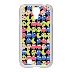 Pacman Seamless Generated Monster Eat Hungry Eye Mask Face Color Rainbow Samsung Galaxy S4 I9500/ I9505 Case (white)