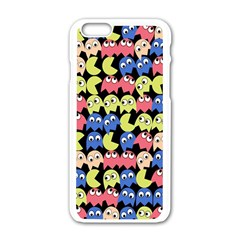 Pacman Seamless Generated Monster Eat Hungry Eye Mask Face Color Rainbow Apple Iphone 6/6s White Enamel Case by Mariart