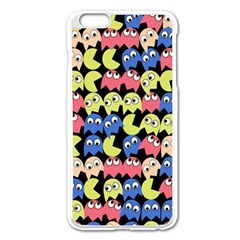 Pacman Seamless Generated Monster Eat Hungry Eye Mask Face Color Rainbow Apple Iphone 6 Plus/6s Plus Enamel White Case by Mariart