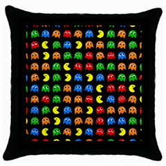 Pacman Seamless Generated Monster Eat Hungry Eye Mask Face Rainbow Color Throw Pillow Case (black) by Mariart