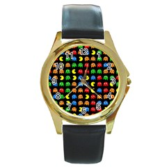 Pacman Seamless Generated Monster Eat Hungry Eye Mask Face Rainbow Color Round Gold Metal Watch by Mariart