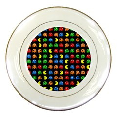 Pacman Seamless Generated Monster Eat Hungry Eye Mask Face Rainbow Color Porcelain Plates by Mariart