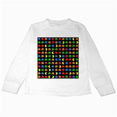 Pacman Seamless Generated Monster Eat Hungry Eye Mask Face Rainbow Color Kids Long Sleeve T Shirts