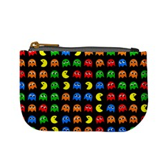 Pacman Seamless Generated Monster Eat Hungry Eye Mask Face Rainbow Color Mini Coin Purses